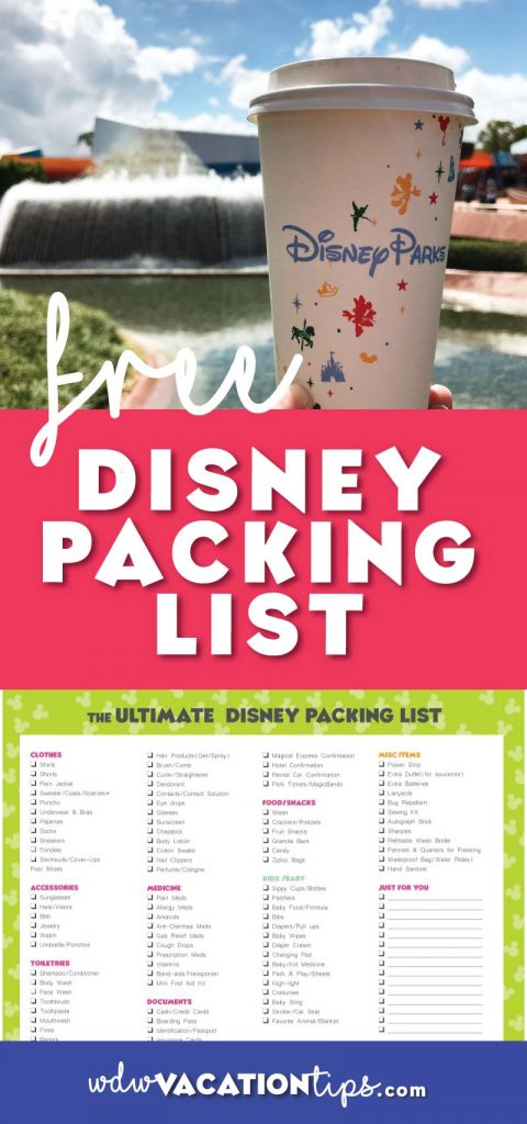 FREE ultimate packing list for Walt Disney World with space to customize to your family's packing needs.