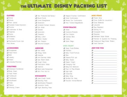 The Ultimate Disney Packing List for your next Disney vacation! It includes all your trip essentials plus room for you to add your own items.