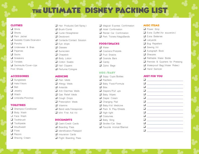 free disney packing list