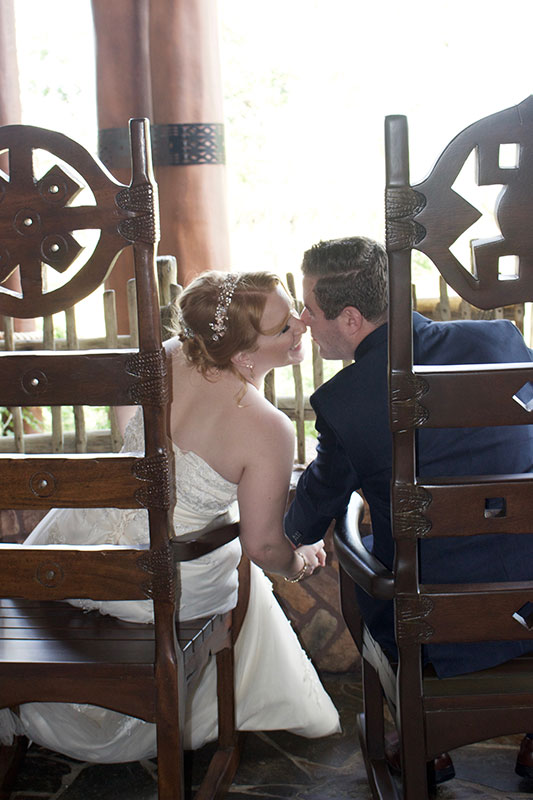 Wedding shot out on the balcony of Disney's Animal Kingdom Lodge.