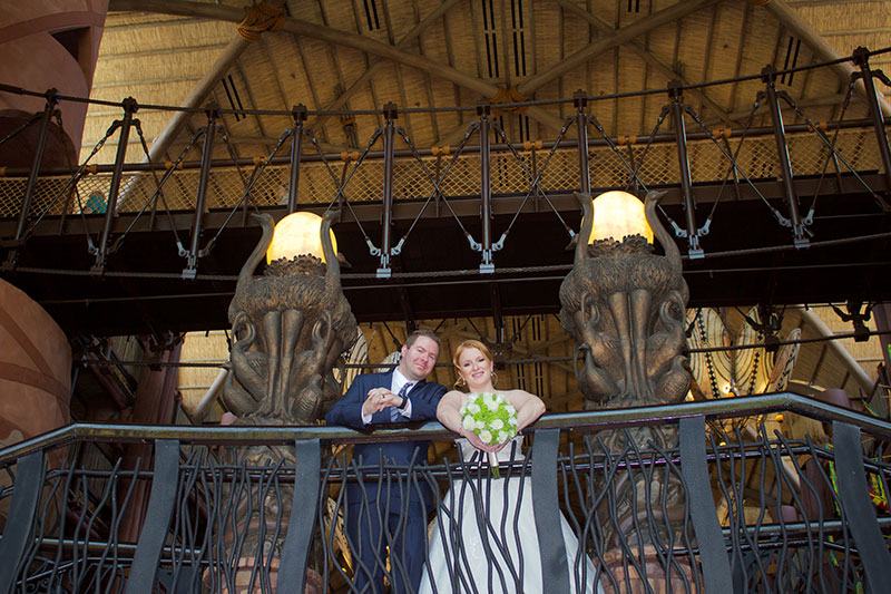 Wedding shot from inside Disney's Animal Kingdom Lodge.