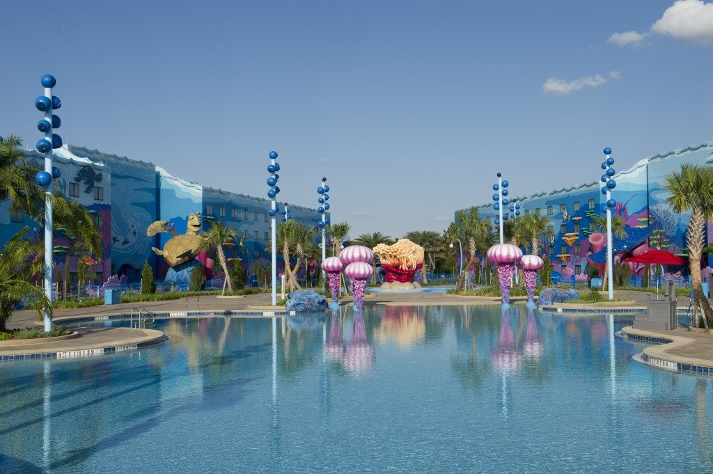 The largest Disney Pool, the Big Blue is located at the Art of Animation Resort.