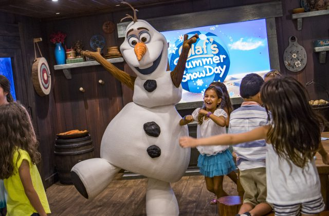 Located in Disney's Oceaneer Club on the Disney Wonder, Olaf visits young guests at Frozen Adventures, where fun takes the form of imaginative play and hands-on activities.