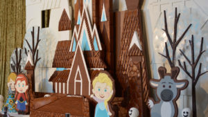 17-foot-tall Gingerbread Holiday Ice Castle inspired by the movie Frozen.