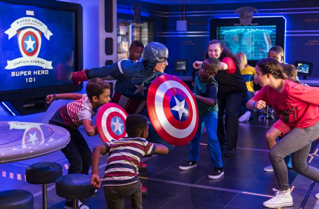 On the Disney Wonder, young guests get a special visit from Captain America while training at the Marvel Super Hero Academy in Disney's Oceaneer Club.