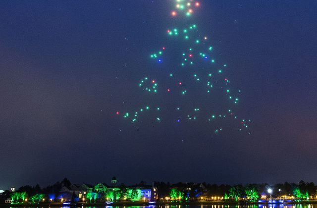 In this holiday show these drones light up to form iconic shapes pair with classic holiday music.