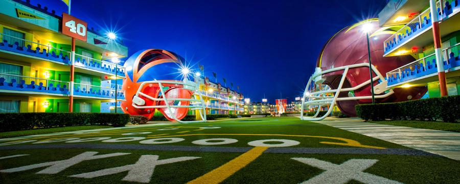 Disney All Star Sports Resort located in Walt Disney World. Copyright Disney.