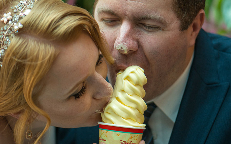 We love Dole Whips so much we included it in our wedding photos.