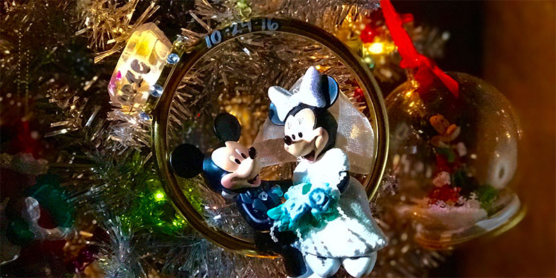 Mickey and Minnie Wedding Ornament we had personalized with our wedding date. In addition they added some small heart details.