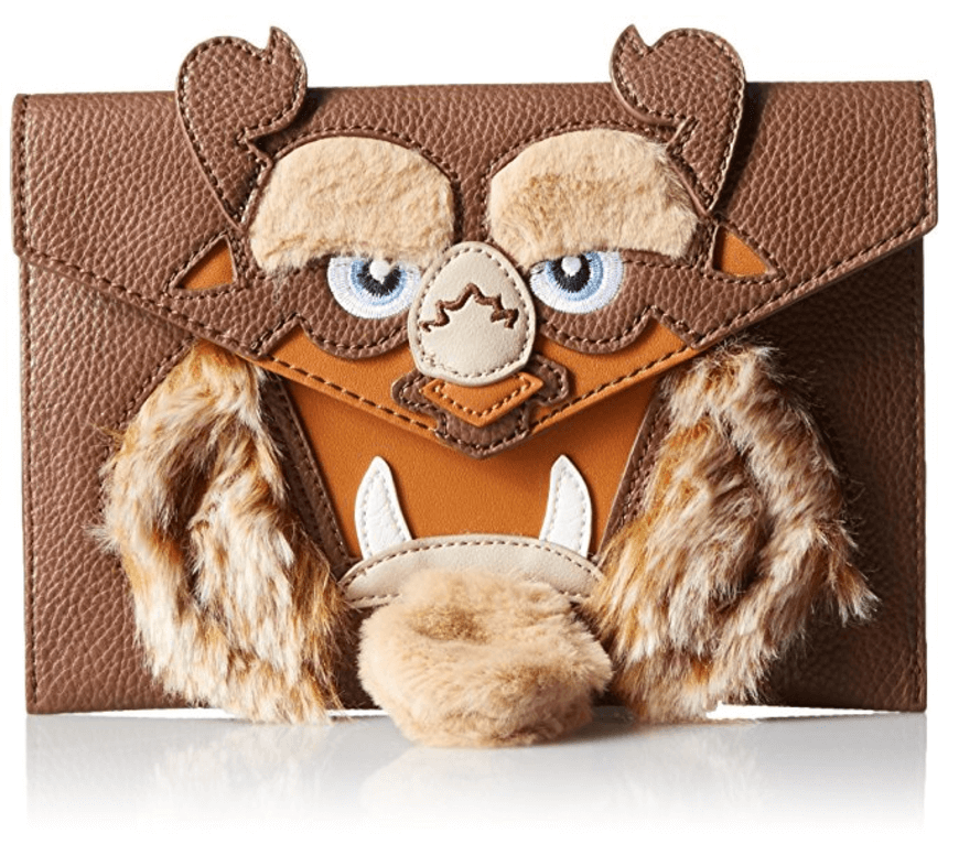 Disney by Danielle Nicole Beast Clutch. Envelope styled clutch features the face of the beast from Disney's beauty and the beast complete with soft, faux fur beard. Get your very own on Amazon.