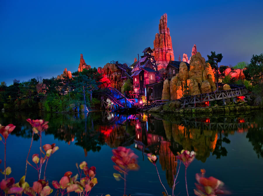Big Thunder Mountain Railroad is one of the best rides for catching the evening firework show! It adds a lot of extra thrill to your firework viewing and many new spots to see them from! Copyright Disney.