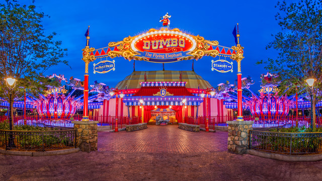 Soar high in the sky on a whimsical flight over Storybook Circus aboard Dumbo the Flying Elephant. At night time you can see the whole park lite up be sure to bring along your camera! Copyright Disney.