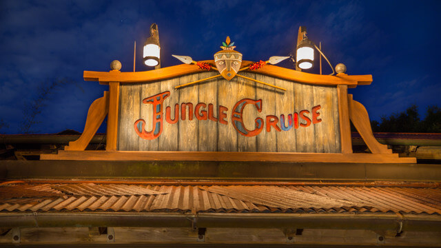 Did you know that bad jokes are better in the dark? Jungle Cruise proves this with their evening boat rides through the jungles of the world. Copyright Disney.