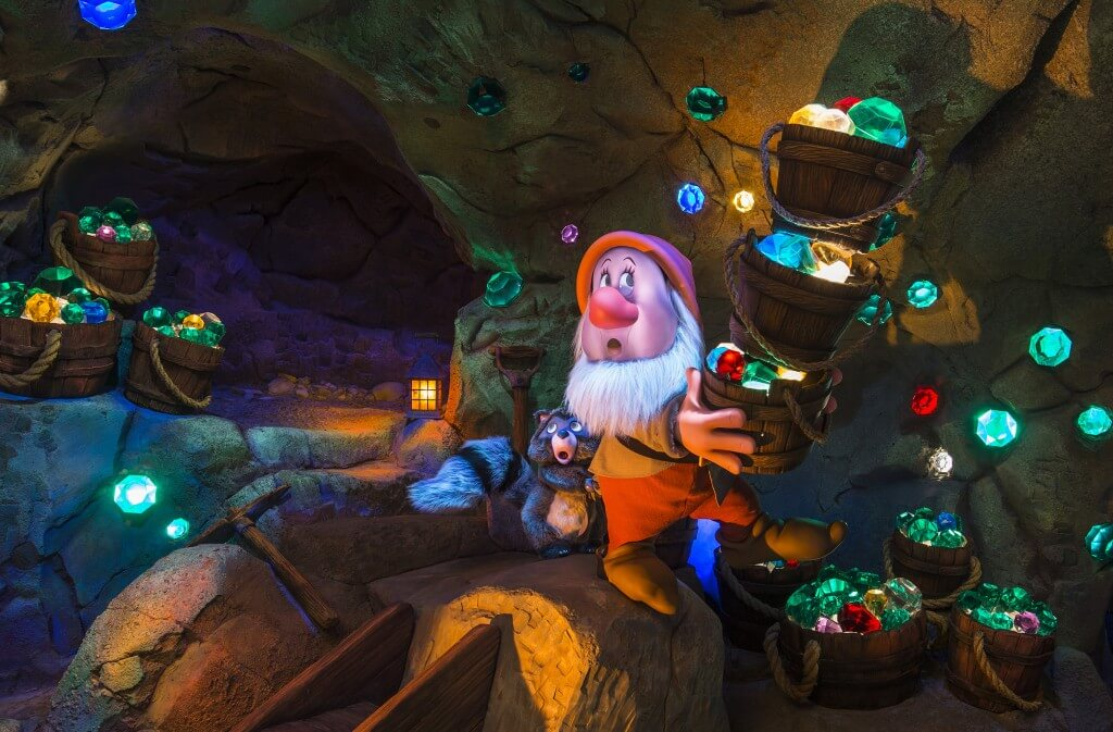 This outdoor attraction was built to ridden at night, it makes the diamonds sparkle brighter. Copyright Disney.
