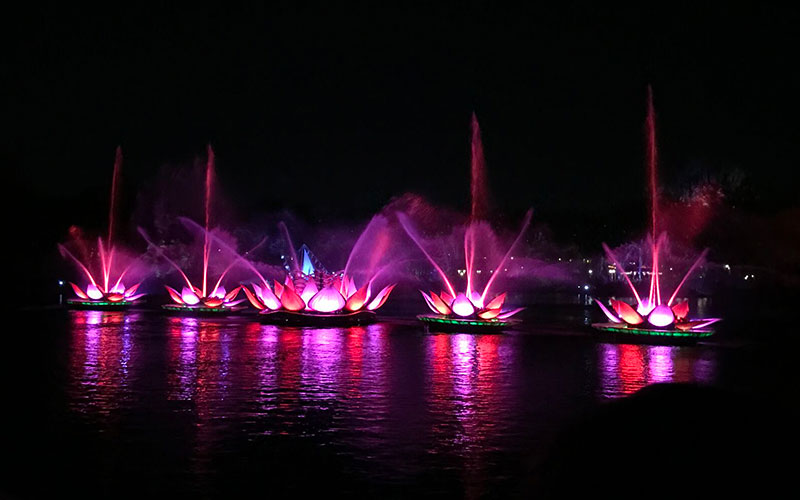 These lotus blossoms transformed into stunning fountains that floated all around the water way.