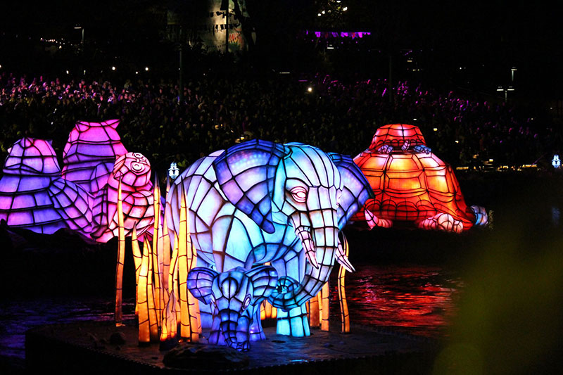 There are several animal floats that join in on the celebration. The elephants, owls, and turtles are pictured here. Note they all have their babies featured with them.