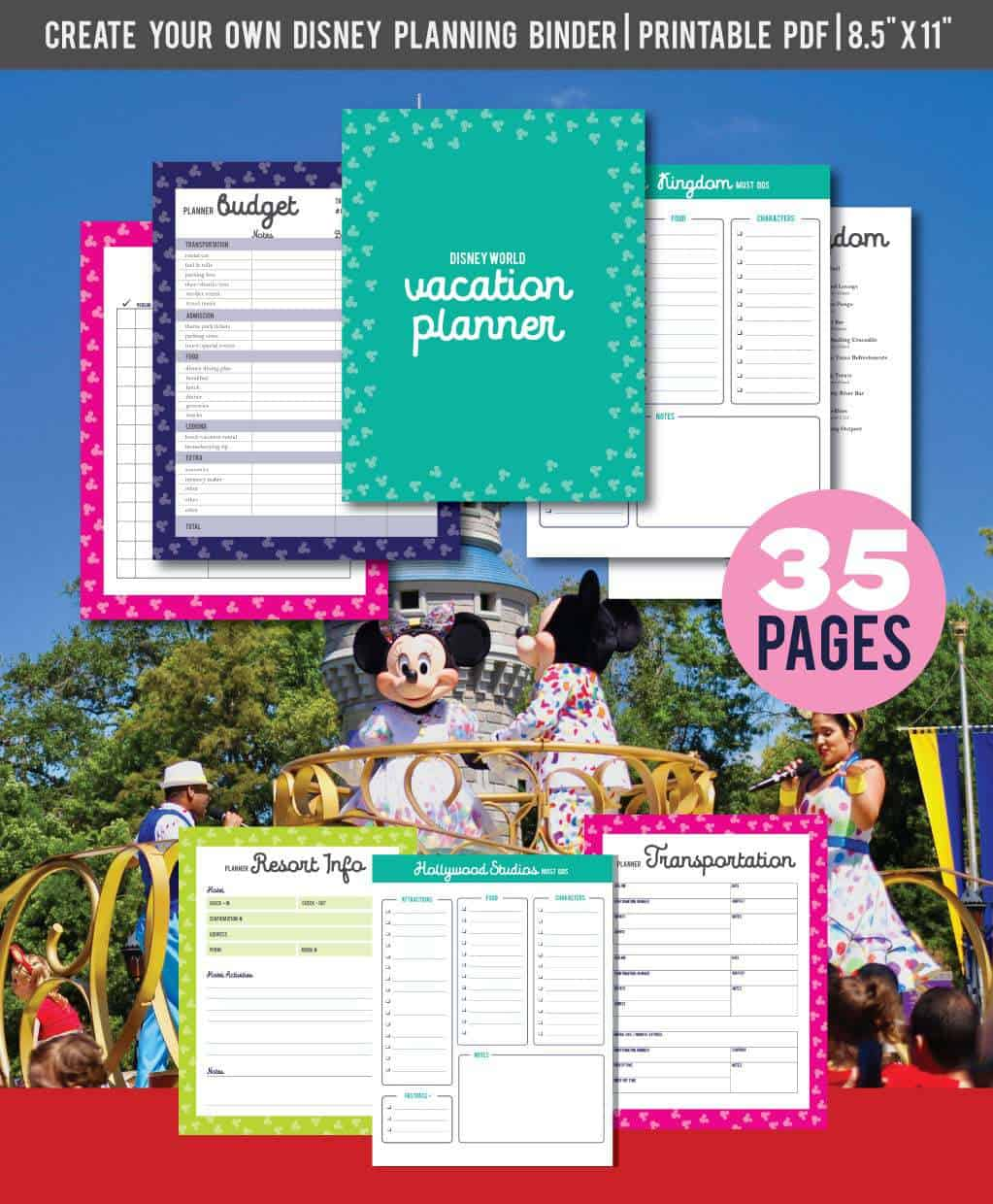 picture regarding Disney World Printable Tickets known as No cost Printable Disney Day-to-day Family vacation Planner WDW Trip Suggestions