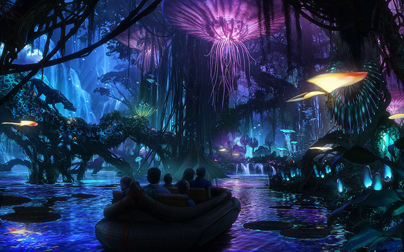Na'vi River Journey guests will sail down a sacred river hidden within a glowing rainforest.