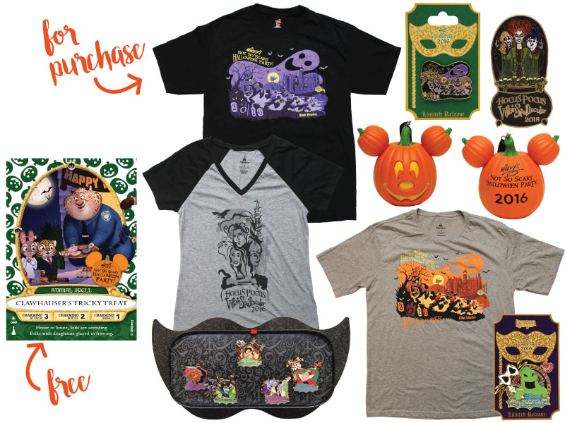 Goodies that can be found only at Mickey's Not So Scary Halloween Party 2016.