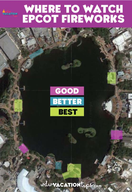 Top Epcot viewing locations for Illuminations. A must read if you plan on watching the fireworks during your Disney vacation.