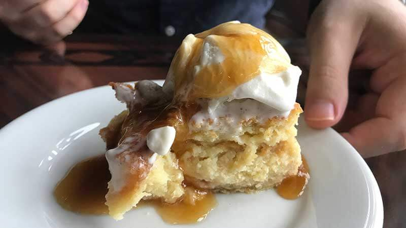 'Ohana Bread Pudding à la mode with Bananas-Caramel Sauce