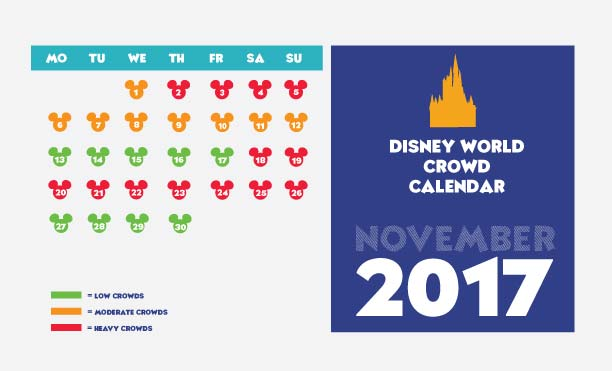 Calendar of the crowds at Walt Disney World for Novemeber.