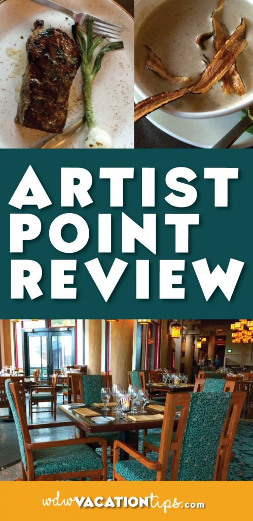 Artist Point dining review. Located inside the Wilderness Lodge this is a great quiet romantic spot to share a meal at Disney World.