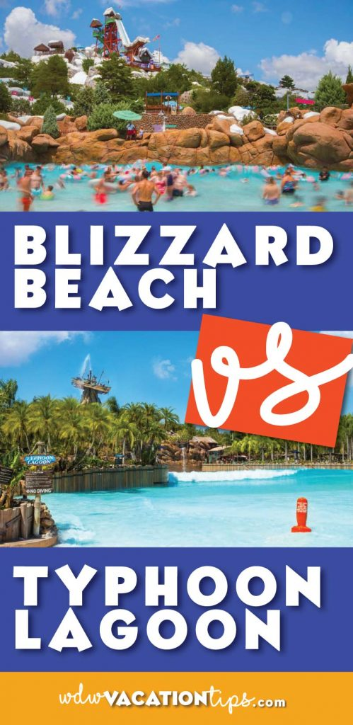 It's a showdown of the Disney Water Parks. If you are having a hard time deciding between Typhoon Lagoon and Blizzard Beach we are breaking down the pros and cons of each.