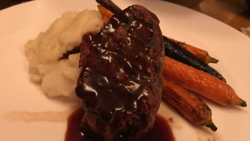 Grilled Beef Tenderloin, Glazed Carrots, Potato-Celeriac Mash, Red Wine Reduction