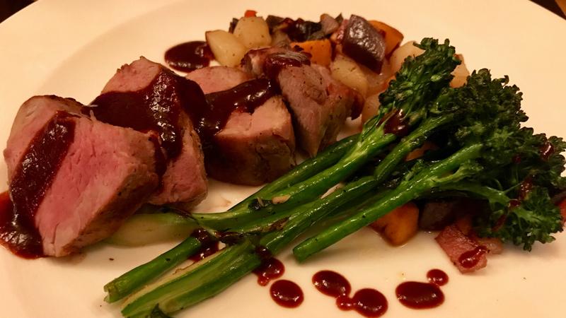 Grilled Pork Tenderloin, Three-Potato and Bacon Hash, Broccolini, Blackberry-Barbecue Sauce