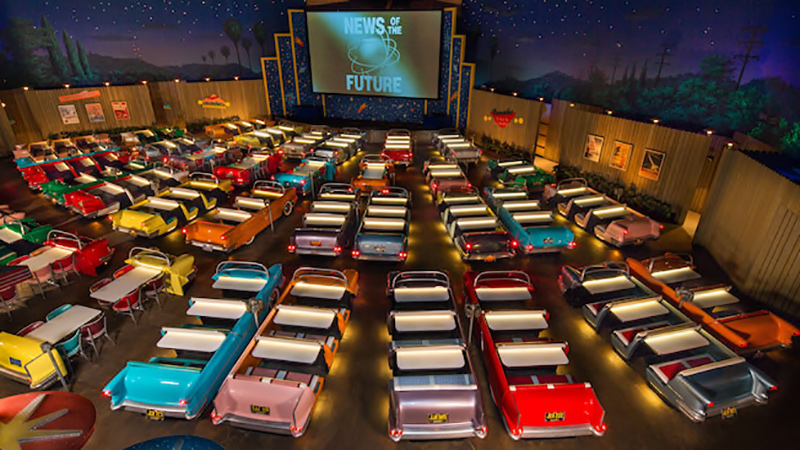 "Have your dinner and a show at a drive-in ""theater,"" featuring all-American cuisine and sci-fi movie clips."