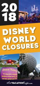 Don't be surprised with closed attractions on your next Disney Vacation. A list of the 2018 Walt Disney World Closures and Refurbishments.