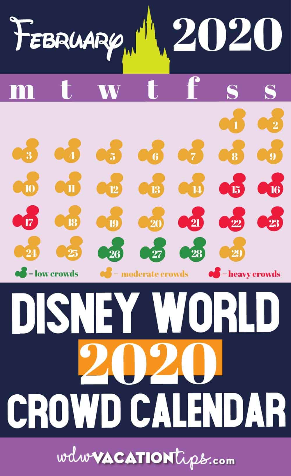 Disney World Crowd Calendar for 2020 1
