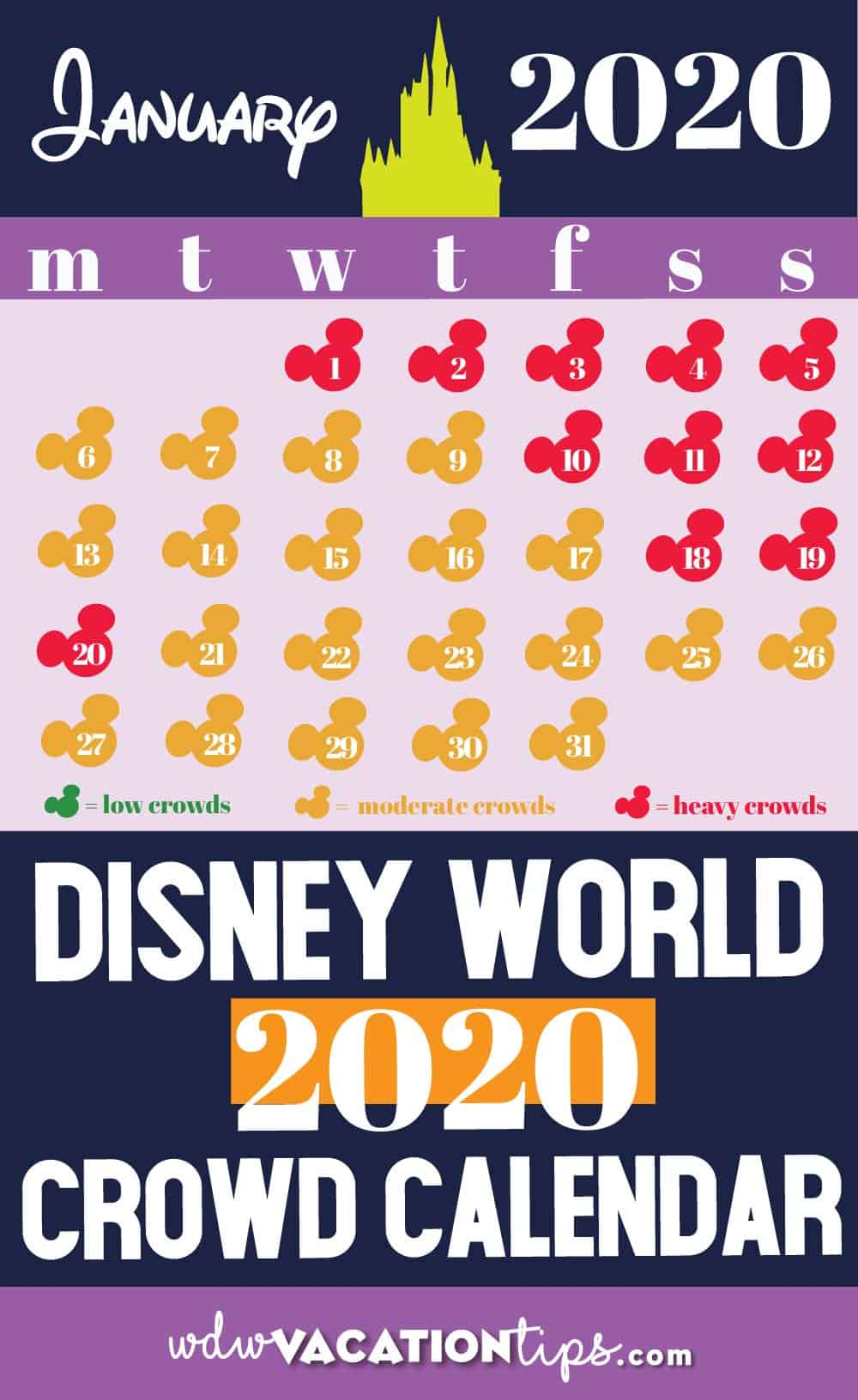 Disney World January 2020 Crowd Calendar
