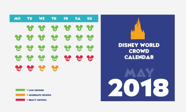 Disney World crowd calendar for May 2018.