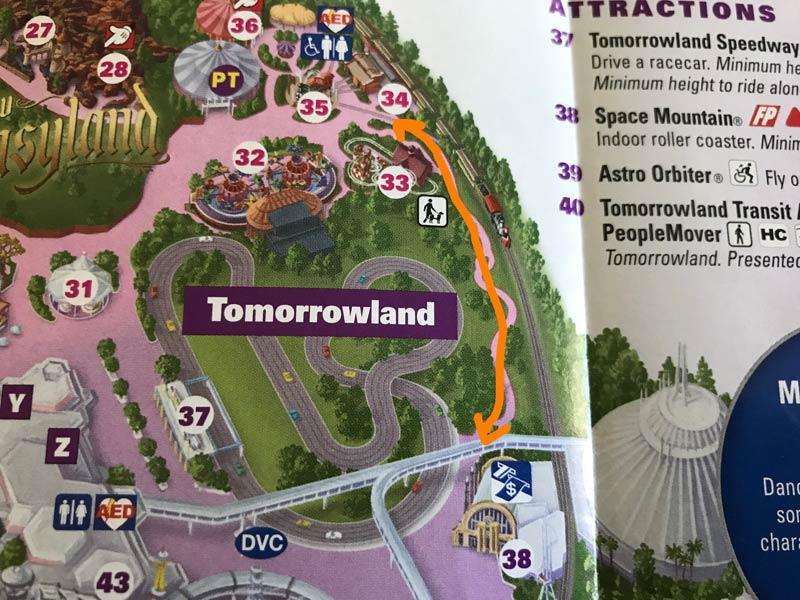 Cut through between Fantasyland and Tomorrowland