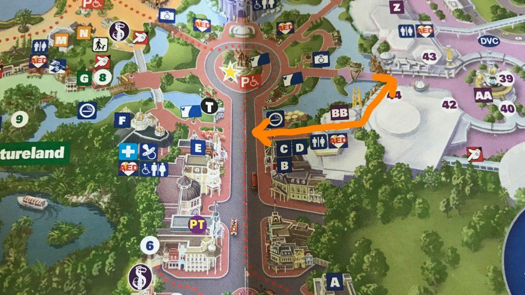 Cut through the Tomorrowland Terrace Restaurant to avoid the hub.