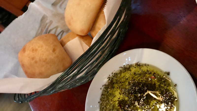 Bread and Oil to start off your meal at Mama Melrose.