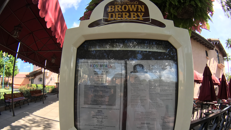 The menu outside the Hollywood Brown Derby.