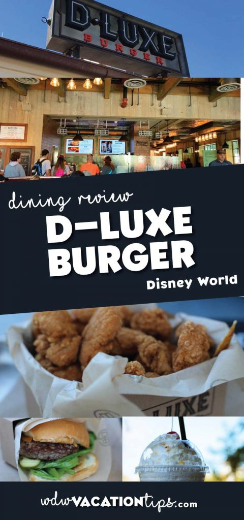 D-Luxe Burger is located in the heart of Disney Springs at Walt Disney World and to no surprise serves up burgers and fries.