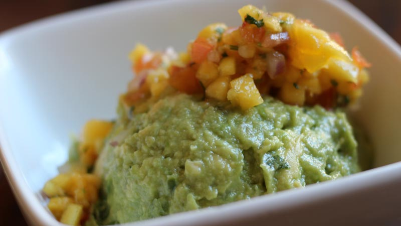 Guacamole with mango pico de gallo