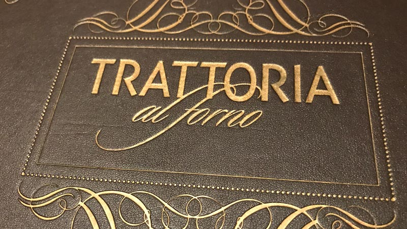 Menu at Trattoria el Forno