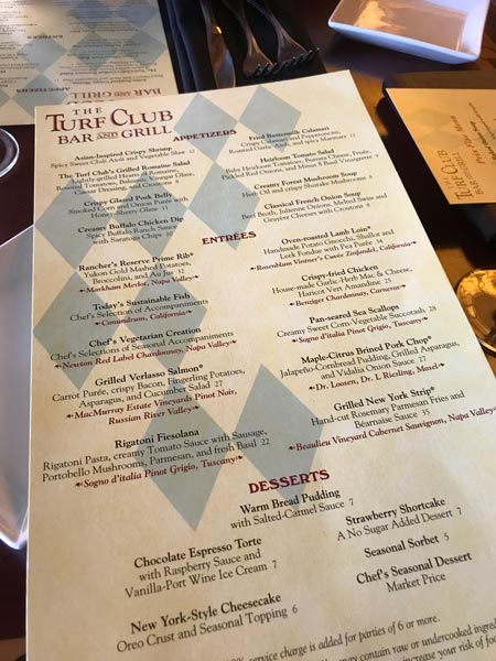 The Turf Club at Saratoga Springs Menu.
