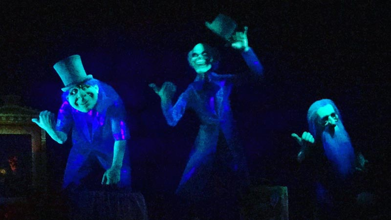 Hitch hiking ghosts inside the Haunted Mansion, Magic Kingdom