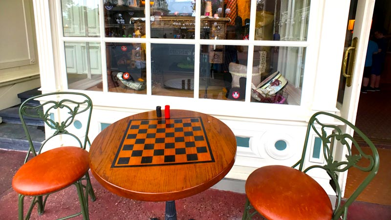 Checkers table on Main Street USA