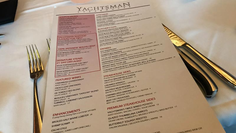 The menu 12/17 at Yachtsment Steakhouse