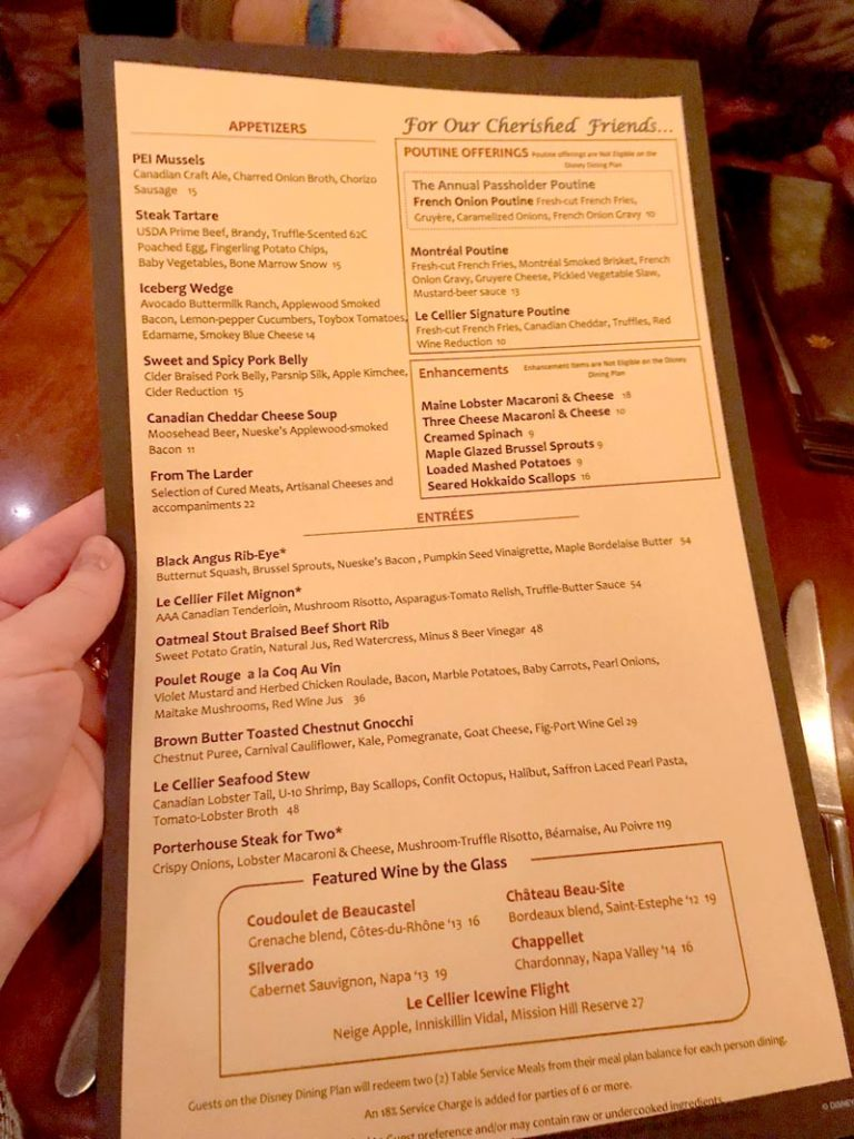 Le Cellier Steakhouse Dining Review Wdw Vacation Tips