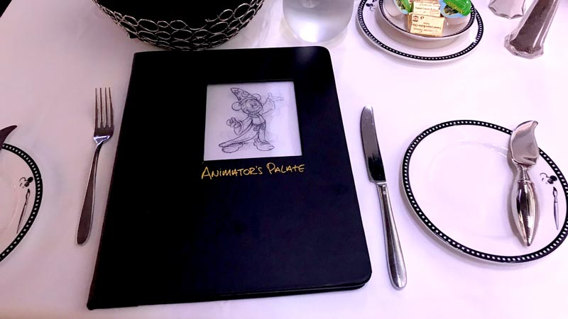 Table setting at animators palate