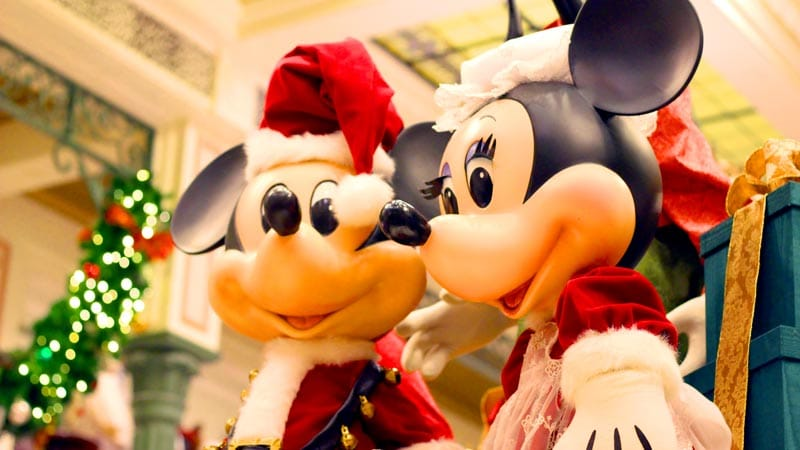 Santa Mickey and Minnie