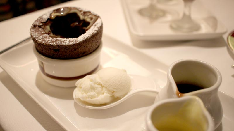 Chocolate Soufflé with Vanilla Bean and Chocolate Sauce